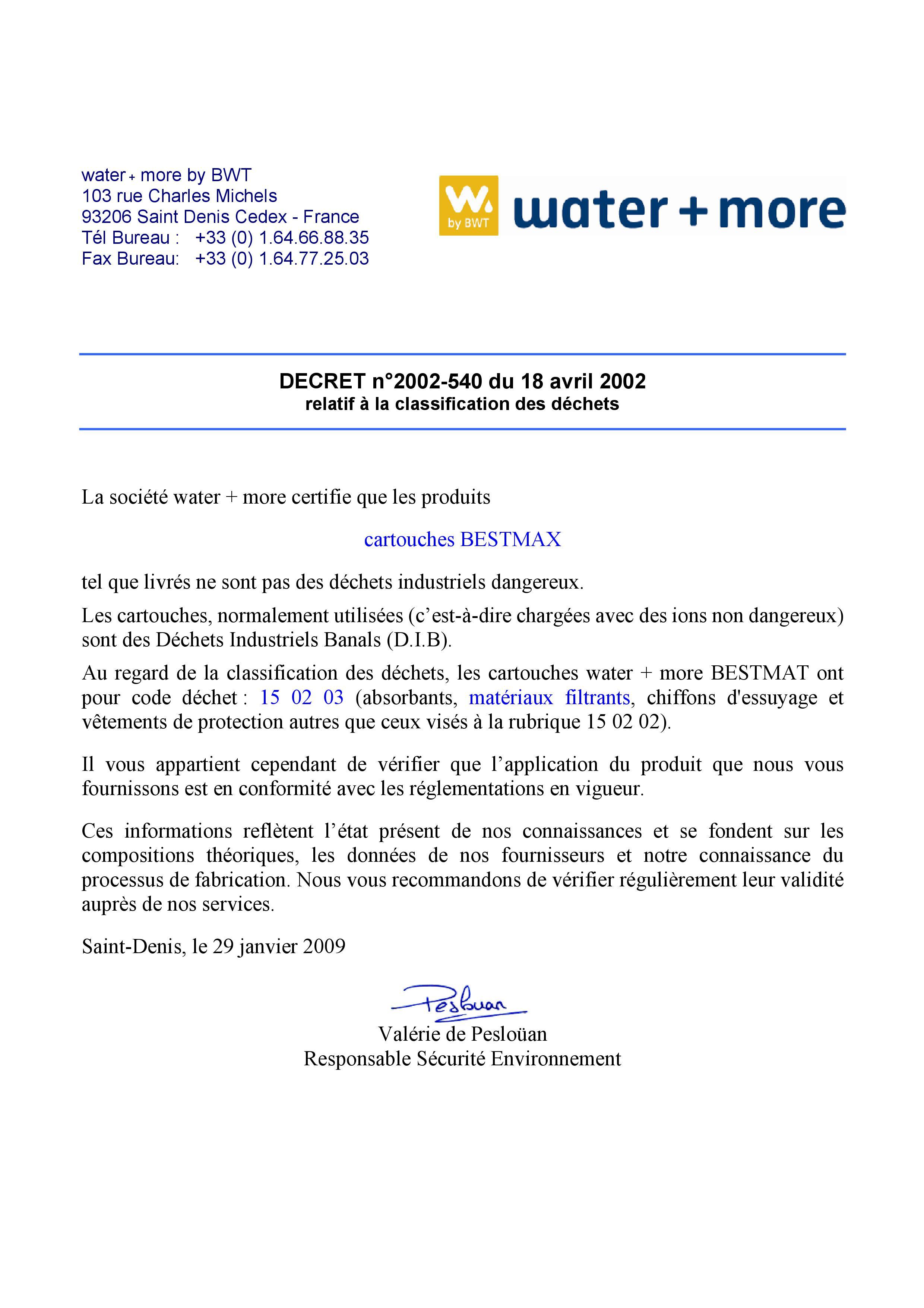 certificat cartouche water